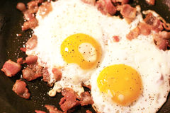 Eggs with chopped bacon Stock Photography