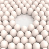 Eggs circular array with empty space Stock Image