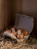Eggs. Close-up of a box full of eggs in a henhouse Stock Photography
