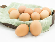 Eggs with cloth in basket Royalty Free Stock Image