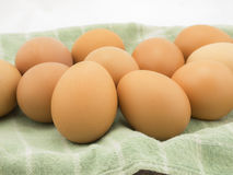 Eggs with cloth on white background. Royalty Free Stock Photography