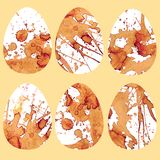Eggs with coffee stains. Various fragrant drawings stock illustration