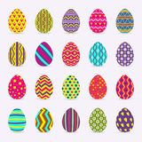 Eggs collection with different pattern colorful style isolated on background. For greeting card, promotion, party poster, tag, decoration, banner sale, stamp stock illustration