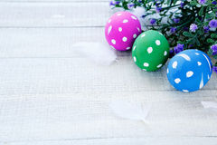 Eggs colored with polka dots Royalty Free Stock Photography