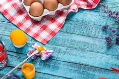 Eggs for coloring and paintbrush Stock Image
