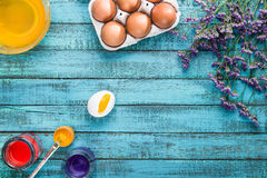 Eggs for coloring and paintbrush Royalty Free Stock Photography