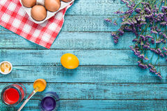 Eggs for coloring and paintbrush Royalty Free Stock Image