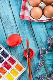Eggs for coloring and paintbrush Royalty Free Stock Images