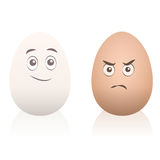 Eggs Comic Happy Angry Face Stock Photography