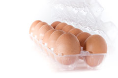 Eggs container. Container for eggs in clear plastic, isolated on a white background Stock Image
