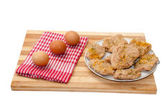 Eggs and cooked soy steaks Royalty Free Stock Photography