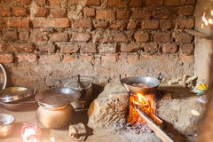 Eggs cooking in Nepali kitchen Stock Photo