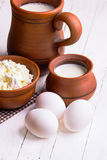 Eggs, cottage cheese and milk Stock Photography