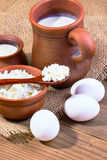 Eggs, cottage cheese and milk Royalty Free Stock Images
