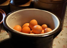 Eggs In Crockery Bowl Stock Image