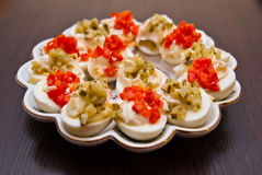 Eggs with cucumber and red pepper Royalty Free Stock Photos