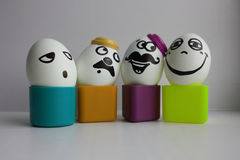 Eggs with a cute face. Photo Royalty Free Stock Image