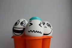 Eggs with a cute face. Photo Stock Photo
