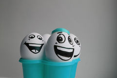 Eggs with a cute face. Stock Photo