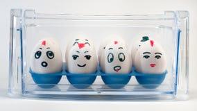 Eggs on dairy corner Stock Photos