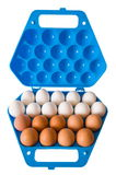 Eggs and the dark blue container. Reserve of the culinary specialist Stock Photography