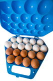 Eggs and the dark blue container. Reserve of the culinary specialist Royalty Free Stock Photography