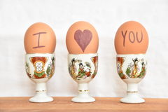 Eggs. Decorated eggs on egg cups Royalty Free Stock Photo