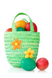 Eggs in the decorative basket Royalty Free Stock Images