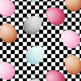 Eggs of different colors on black and white racing and checkered pattern background. Black and white tile vector illustration