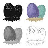 Eggs of dinosaur icon in cartoon style isolated on white background. Dinosaurs and prehistoric symbol stock vector Royalty Free Stock Photos