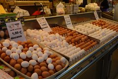 Eggs on display in Indoor Market, Valencia, Spain Royalty Free Stock Photo