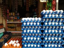 Eggs displayed in egg tray for selling in a vendor shop royalty free stock images