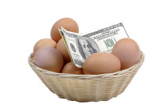 Eggs easter money wealth food banking investment inflation isolated white background treasure egg nest basket cash growth revenue Stock Photos