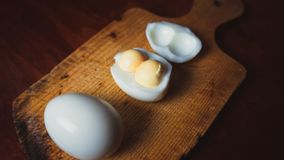 Eggs with double yolks. royalty free stock images