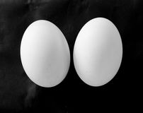 Eggs. Duck eggs on a black background royalty free stock photos