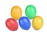 Eggs dyed colourful  white background Stock Photo