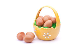 Eggs in easter basket Royalty Free Stock Image