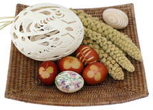 Eggs in easter basket. Royalty Free Stock Images