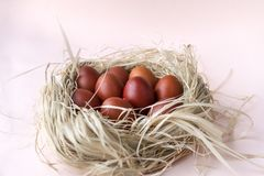 Eggs, Easter, brown, Easter eggs, nest, beige background. Boiled eggs, Easter, brown, Easter eggs, nest, beige background, boiled eggs, Easter, brown, Easter stock photos