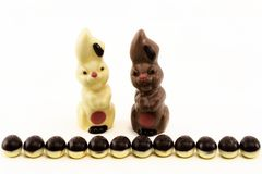 Eggs and easter bunny made of chocolate Stock Photo