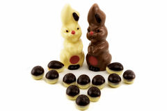 Eggs and easter bunny made of chocolate Royalty Free Stock Photo