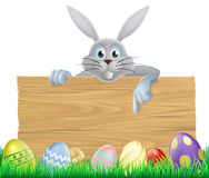 Eggs and Easter bunny sign Stock Images