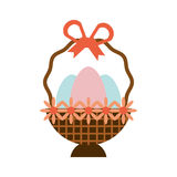 Eggs easter inside basket icon Stock Images