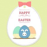 Eggs on easter. Text  happy easter  and eggs on easter card with ribbon on green polka dot background Stock Photography