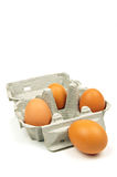Eggs and egg box Royalty Free Stock Images