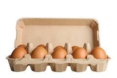 Eggs in the egg box Stock Images