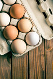 Eggs in egg box Stock Image