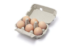 Eggs in Egg Carton. On White Background Royalty Free Stock Image