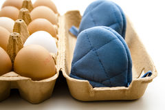 Eggs with egg cozy Royalty Free Stock Photography