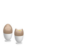 Eggs in egg cups. One whole egg and one broken egg Royalty Free Stock Images